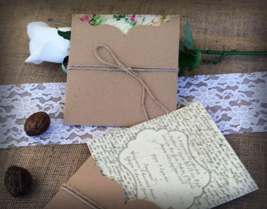 Vintage προσκλητήριο γάμου με φάκελο από οικολογικό χαρτί