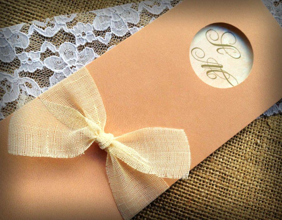 Μακρόστενο προσκλητήριο γάμου με φάκελο κουμπωτό ιδιαίτερης κατασκευής